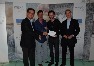 Jo Rabin, co-founder of MobileMonday London (Awards Presenter); Giles Corbett and Remy Bourganel of Orange Vallee (Winners); Marek Pawlowski, Founder of MEX (Organiser & Host)