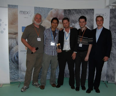 David Marutiak, User Community Ambassador, Vodafone (Judge); Bob Leung, James Goodfellow and Daniel Tenner of Woobius (Winners); Marek Pawlowski, Founder of MEX (Organiser & Host)