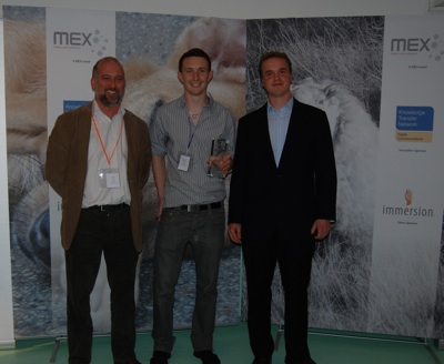 Eddie Murphy, Network Development Manager, DCKTN (Sponsor); Adrian Bliss of Brunel University (Winner); Marek Pawlowski, Founder of MEX (Organiser & Host)