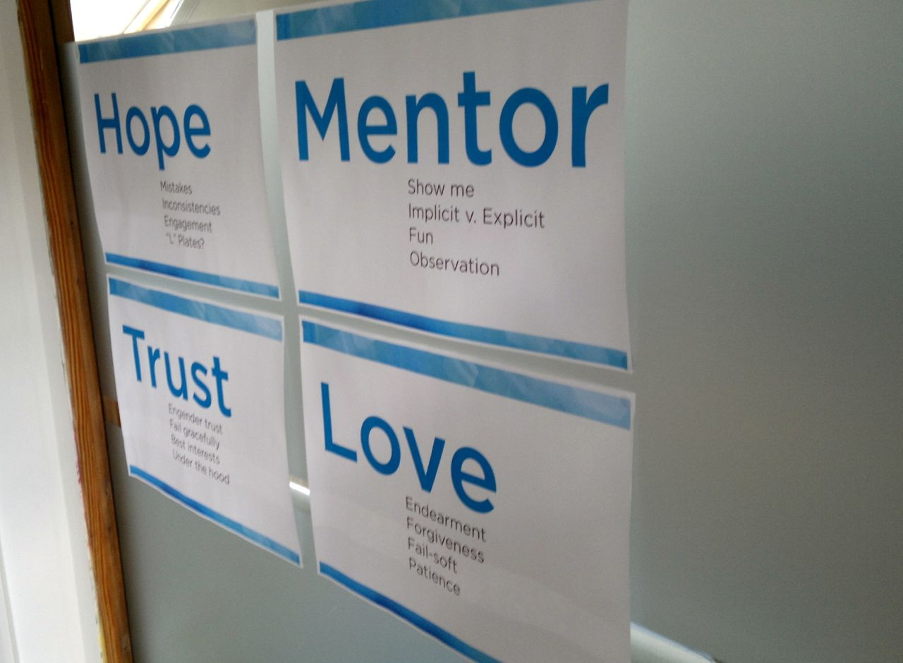 Hope, Mentor, Love, Trust - themes introduced by Peter Whale at MEX around context aware computing