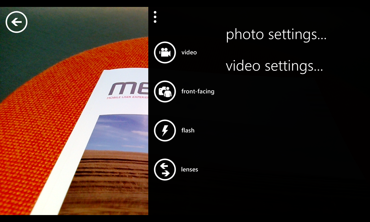 Camera UI on Windows Phone Nokia Lumia 920