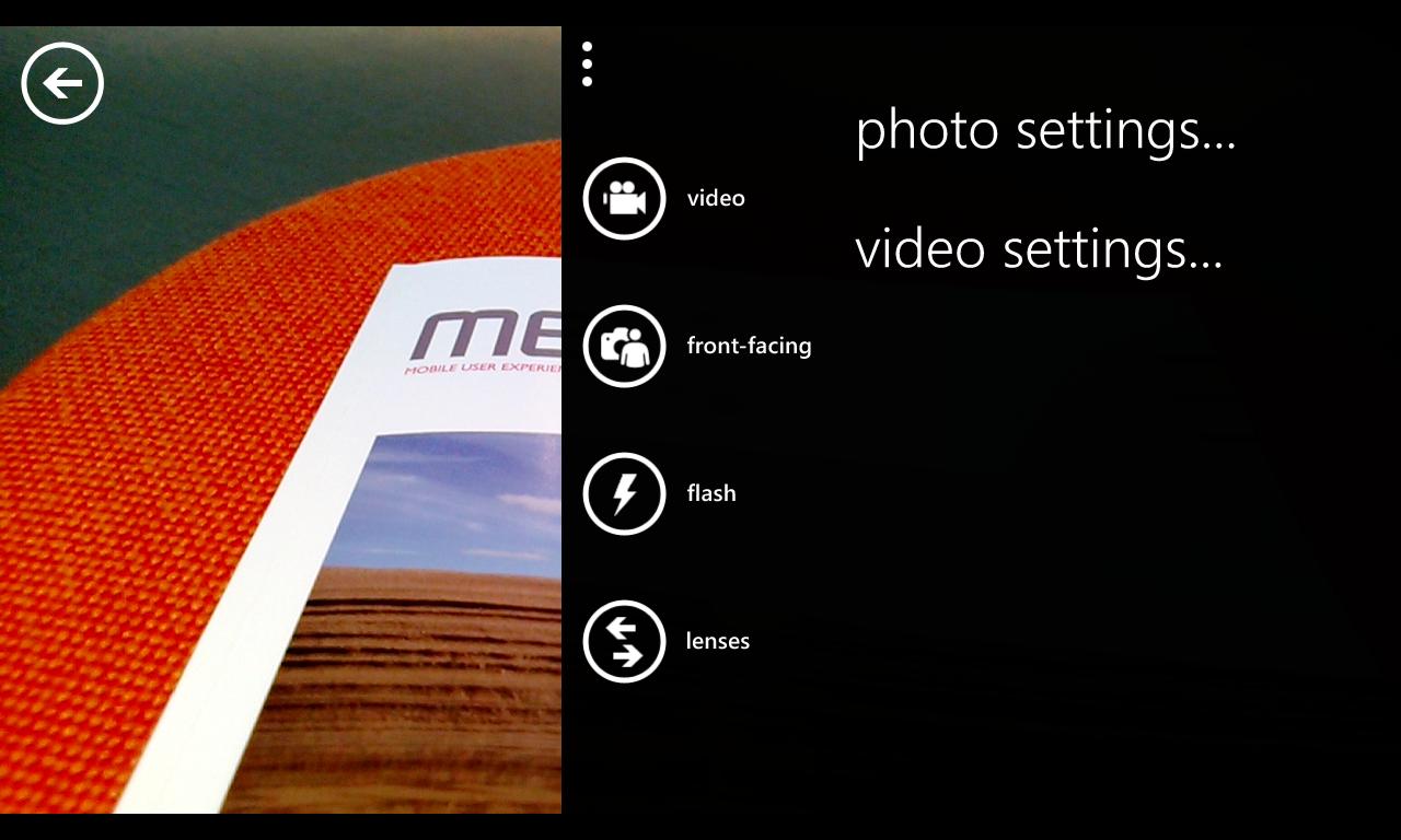 Camera UI on Windows Phone Nokia Lumia 920