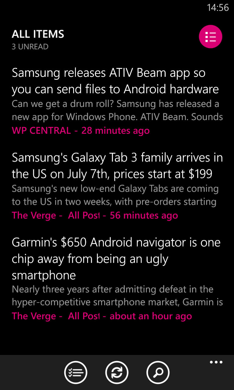 Nextgen Reader on Windows Phone Nokia Lumia 920