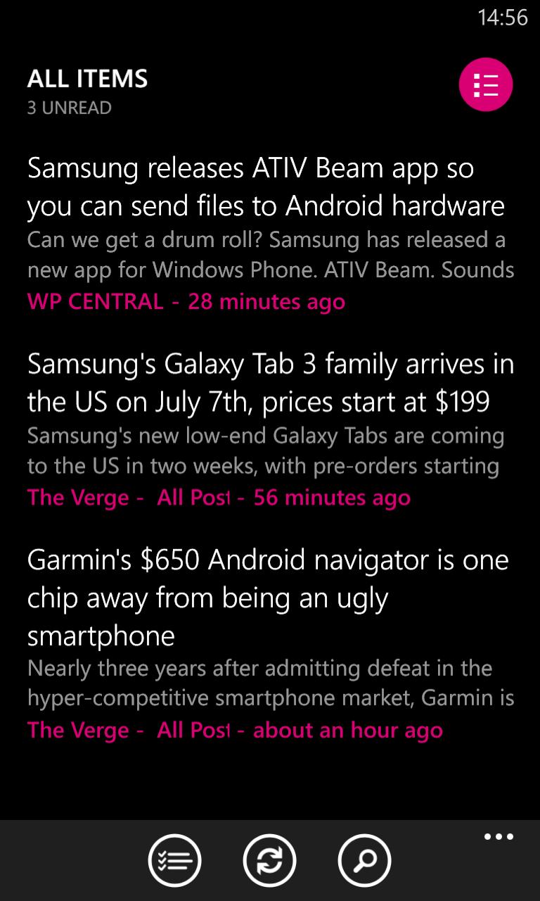 Nextgen Reader on Windows Phone Nokia Lumia 920