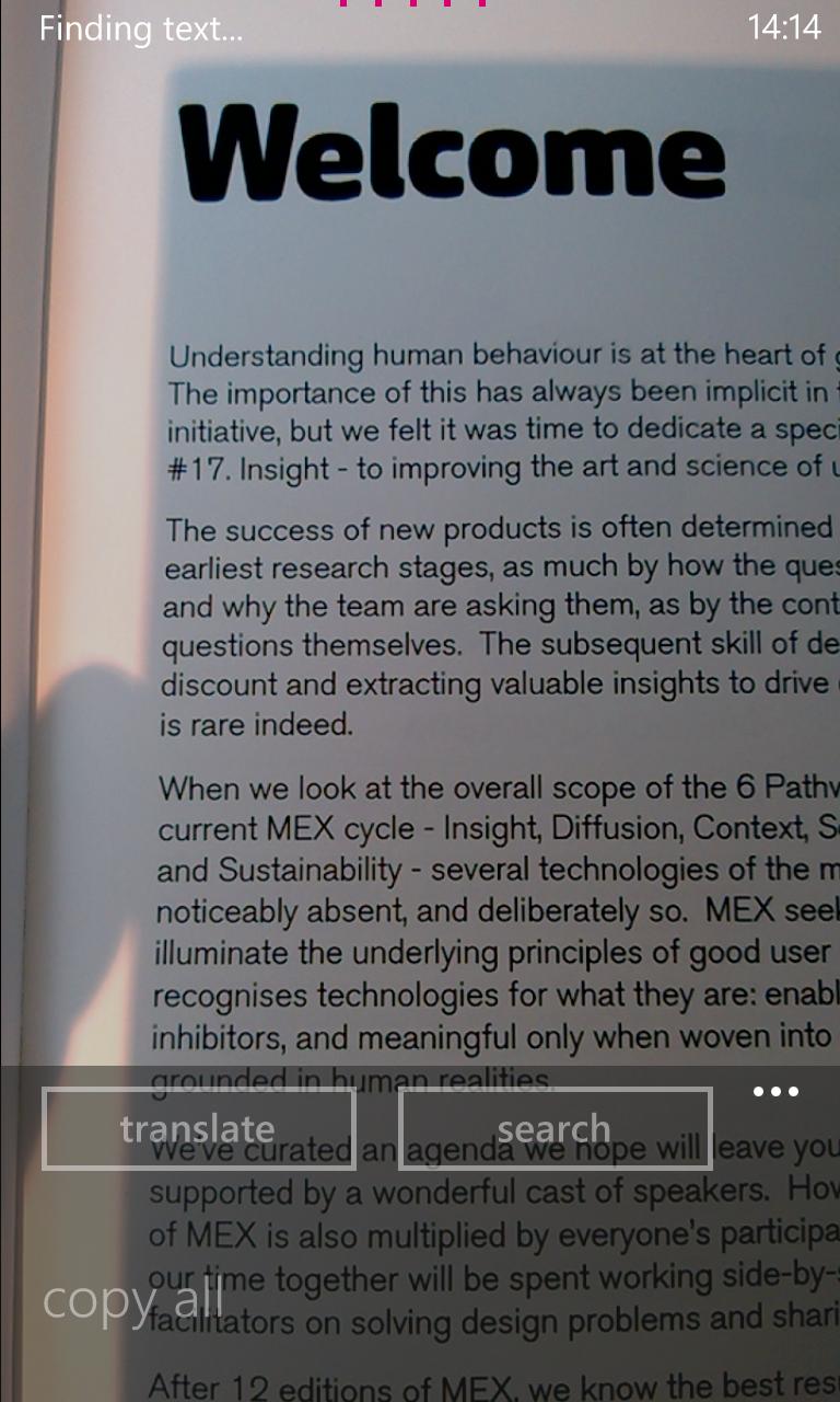 Scanning text on Windows Phone Nokia Lumia 920